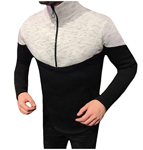 Price comparison product image Tootlessly Mens Splice Color Zip Up Plus Size Jacket Coat Long Sleeve Tops Black XS