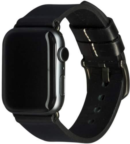 dbramante1928 Echtleder-Uhrenarmband kompatibel mit Apple Watch (42/44mm) - [Modell: Bornholm, Saffianoleder, Handgefertigt, Farbe: schwarz/grau] - AW44BLSG1037