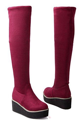 Aisun Femme Mode Talon Epais Genou Cuissardes Ski Bottes Rouge Vineux