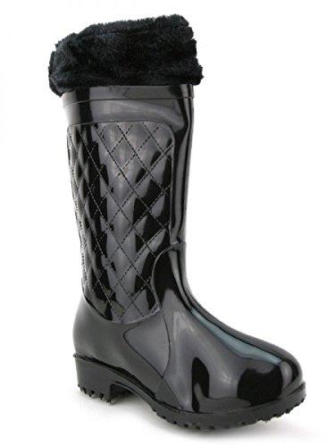 Cendriyon, Bottes de Pluie Noire vernies UTGA Chaussures Femme Noir
