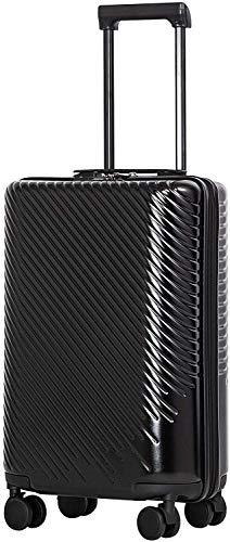 COOLIFE Mode-Business-Koffer Reisekoffer PC+ABS Material mit TSA-Schloss und 4 Rollen Handgepäck Mittelgroßer Großer Koffer (Schwarz, Handgepäck)