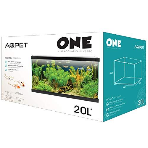 AQPET One Mini Acquario Vetro Colore Nero 20 Litri Completo di Accessori 36x22x26h