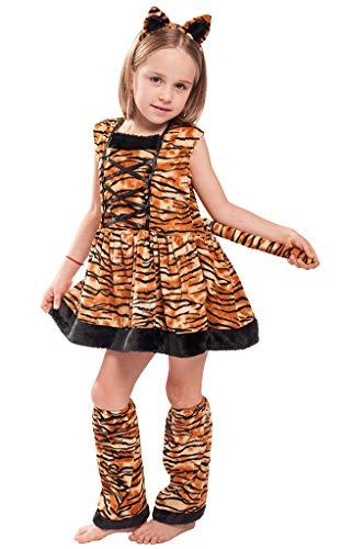 Mombebe Cosland Mädchen Kostüm Tiger Kleid Set Karnavel (Tiger, L) (Tiger Girl Kostüm)
