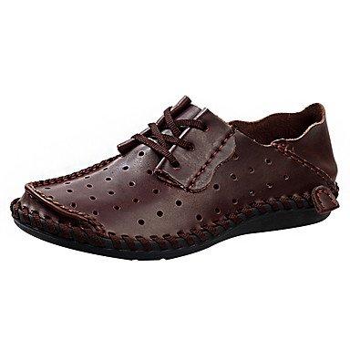 Los hombres sandalias Verano Ahuecar zapatos suelas de luz exterior de cuero Casual tacón bajo Lace-up sneakers moda marrón oscuro Marrón claro US6-6.5 / EU38 / UK5-5.5 / CN38 HLX2c3jj
