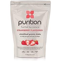 Batido de proteínas de fresa (500g). Ideal para perder peso & recuperación post-ejercicio – sustituto de comida 100% natural – Batido para el desayuno