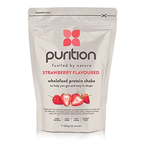Wholefood Strawberry Protein Shake (500g) Ideal for weight loss & post exercise recovery - 100% natural meal replacement - Breakfast smoothie for men & women - Drink or mix into porridge or yogurt