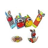 4 Pcs Wicemoon Soft Baby Toy Wrist Rattle Strap Socks Cute Donkey Monkey Panda Dog Cartoon Garden Bug Plush Rattle with Ring Bell