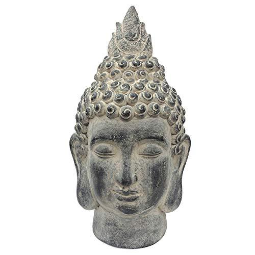 SVITA Buddha XL Buddha in verschiedenen Varianten Figur Asien Statue Skulptur Feng Shui Stein-Optik grau (53 cm, Kopf)