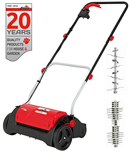 Grizzly Elektro Vertikutierer - Elektrischer Rasen Vertikutierer, Belüfter mit 1200 Watt Motor, 31 cm Arbeitsbreite und klappbaren Griff (Vertikutierer + Lüfterwalze)