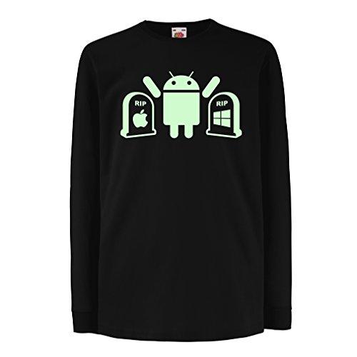 Kinder-T-Shirt mit Langen Ärmeln Der Gewinner ist Android - Geschenk für Tech-Fans (12-13 Years Schwarz Fluoreszierend)