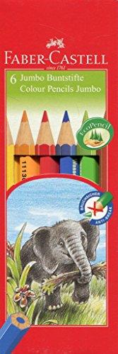 Faber-Castell 111206 - Buntstifte Jumbo, Inhalt: gelb, orange, rot, blau grün und braun, 6er...
