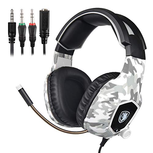 Wired gaming headset sades 818 camouflage gaming headset gaming over ear cuffie con microfono per playstation 4, xbox one e giochi per pc (camouflage grigio)