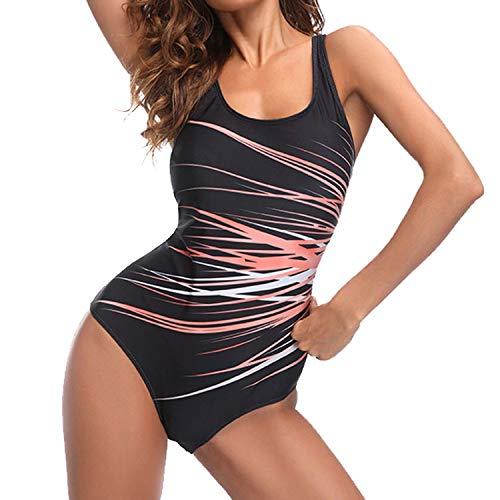 Sporzin Damen Badeanzug große Größen Rückenfrei Push up Bademode Sport Einteiliger Badeanzug Einteiler Slim Strandmode Bademode Schwimmanzug