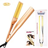 CFMOUR Hair Curler, 2 in 1 Hair Straightener and Curlers Iron for Hair