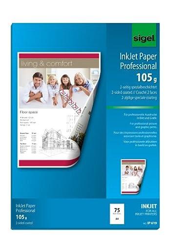 Sigel IP619 Papier professionnel d'imprimante jet d'encre, format A4 (21 x 29,7 cm), 105 g/m², 75 feuilles