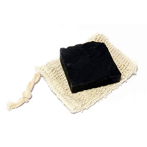 Mijo No.01 Schwarze Seife 100% Naturseife mit Bambus Aktivkohle, Bio Olivenöl für Gesicht gegen Pickel + Säckchen N (Bio-schwarze Afrikanische Seife)