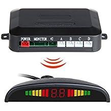 GISION Wireless Display LED Sistema de aparcamiento de 4 sensores, sistema de radar de reserva reversible, 6 colores ( Color : Black )