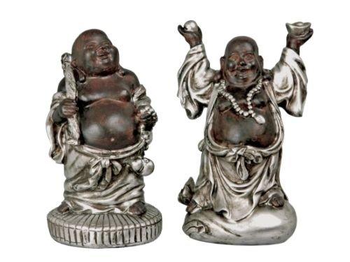 Set 2 Stk. Happy Buddha Deko Figuren Feng Shui Esoterik Buddhismus Glücksbringer