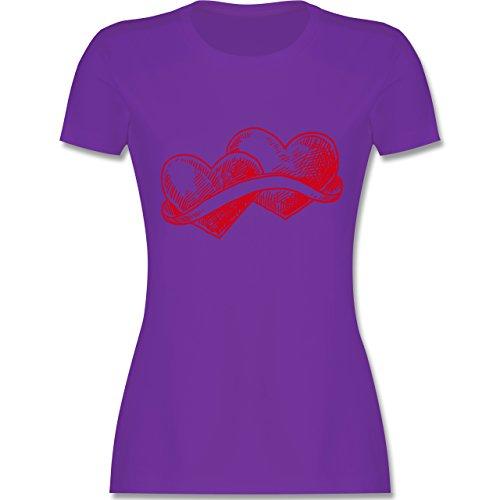 Romantisch - Doppelherz Liebe - tailliertes Premium T-Shirt mit Rundhalsausschnitt für Damen Lila