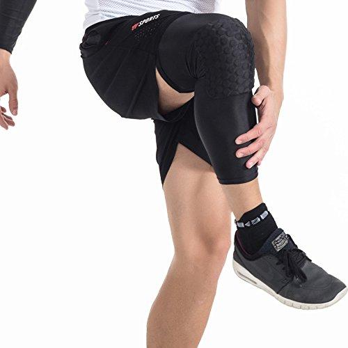 dgyao Schutz Kompression Knie Pads Crashproof Fußball Basketball Bein Sleeve Sport Knieschoner Kneepad Displayschutzfolie Kniebandage Small schwarz
