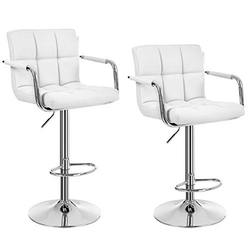 SONGMICS 2 x Bar Chairs with Chromed Framework Breakfast stools for Kitchen Island PU White LJB93WUK
