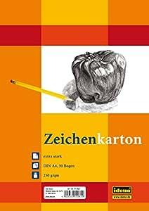 Idena 212061 Zeichenkarton extra stark, DIN A4, 250 g / m², 50 Bogen Doppelpack