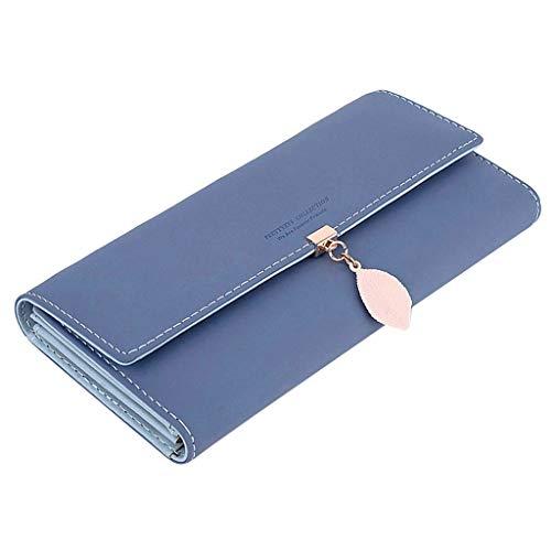 LABIUO Damen Geldbörse,Mode PU Leder Blatt Anhänger Lange Brieftasche Multifunktional Magnetschnalle Kupplung(Dunkelblau,Freie Größe)