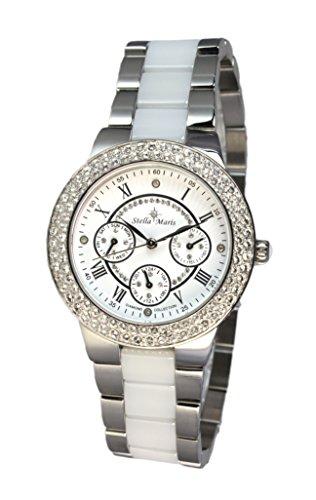 Stella Maris - STM15S1 - wrist watch for women - quartz movement analog display - white dial - white ceramic bracelet