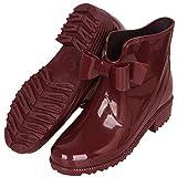 YOOEEN Stivali Donna in Gomma Carino Bowknot Stivali da Pioggia Antiscivolo Caviglia Stivaletti di Gomma Impermeabile Scarpe da Lavoro da Giardino Morbido Wellington Boots Taglia 36-44