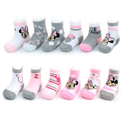 Disney Mädchen Verschiedene Minnie Mouse Designs 12 Paar Socken Variety Set 0-6 Monate Rosa-weiß-grau-Sammlung (Länge Kleid Socken)