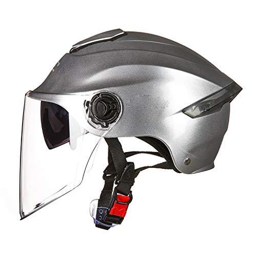 XGHW Casco Moto Uomo e Donna Estate Doppia Lente Protezione UV Mezzo Casco Casco Protezione Solare Pioggia (Colore : Silver, Dimensioni : 54-62cm)