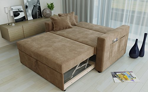 """Direct Furniture """"Ravena"""" 2-Seater Sofa Bed with Side Pocket Storage, Chenille, Taupe"""