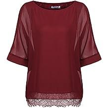 Parabler Damen Chiffon T-Shirt Kurzarm Batwing Fledermaus Loose Fit Shirt  Tunika Bluse 0dfe890096