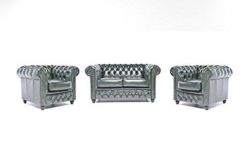 Original Chesterfield Sofas und Sessel – 1 / 1 / 2 Sitzer – Vollständig Handgewaschenes Leder – Antik Grün