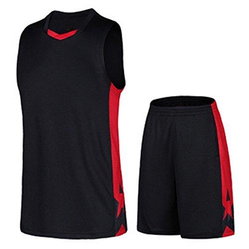 Highdas Herren-Basketball-Trikot Anzug schnell trocknend atmungsaktiv lose große Yards Sport Basketball Kleidung schwarz 3XL gesetzt