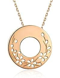 VinJewelry, collar de plata de ley 925 con círculo abierto, chapado en oro rosa, colgante con diseño de pétalos huecos, con caja de regalo para mujeres, novias, madre y esposa