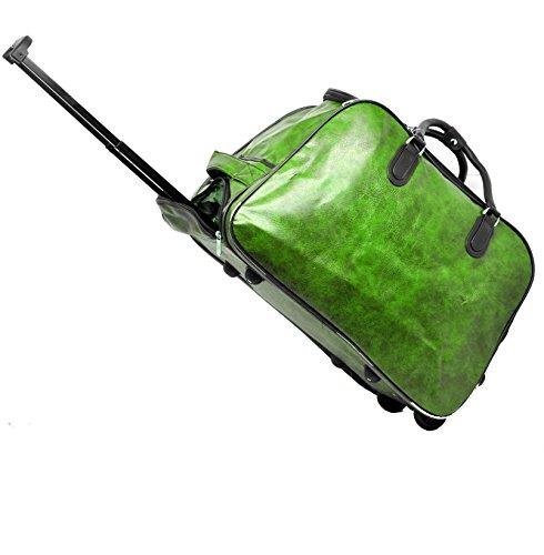 Borsone trolley mano pelle capiente viaggio low cost grande bagaglio vintage italia (verde)