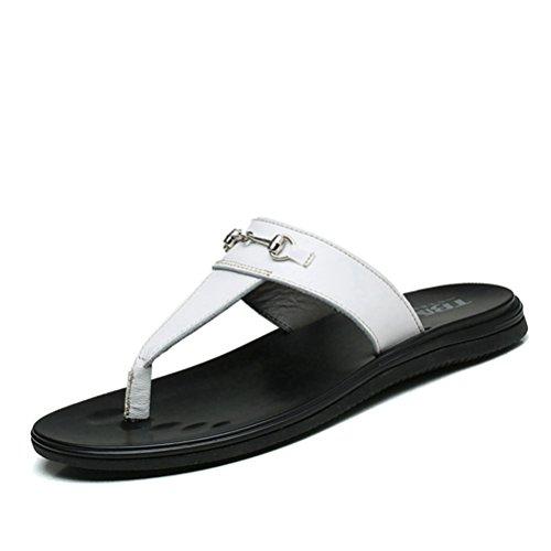 Herren Sommer Slip on Zehentrenner Bequeme Schöne Einfache mit Metallschnalle Offene Zehen Strandschuhe Sandalen Weiß