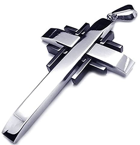 Epinki Mens Stainless Steel Fashion Jewelry Chains Pendant Necklace Cross Crucifix Silver Black 24 Inch