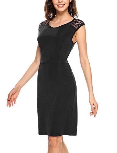 Zeagoo Damen Etuikleid Partykleid Sommerkleid Ärmellos Rückenfreies Kleid mit Spitze Knielang Schwarz