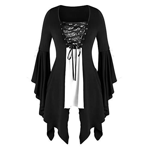 Aiserkly Damen Plus Size Gothic Tunika T Langarmshirts Pailletten Schnürbluse Hexenkostüm Cosplay Karneval Fasching Bluse Mittelalter T-Shirt Kleid Weiß L -