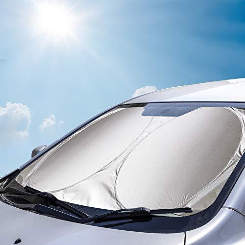 Amokee Auto Frontscheibe, Auto Sonnenschutz Auto Sonnenblende UV Schutz Autoscheibenabdeckung Auto Windschutzscheibe das Auto Kühler um bis zu 50%, Flexibel Größe für SUV, Truck, Auto Big oder kleine
