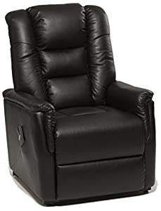 GFA The Bradfield Riser Recliner Chair in Faux Leather (PU). Single Motor, easy-clean lift and tilt rise chair. Three colours available - cream, black and nut brown (Black)