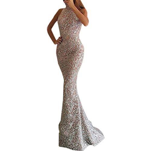 Riou Damen Brautkleider Hochzeitskleider Lang Sexy V-Ausschnitt Rückenfrei Spitzenkleid für Brautjungfer Hochzeit Abend Party Standesam Kleider (Rosa, XL)