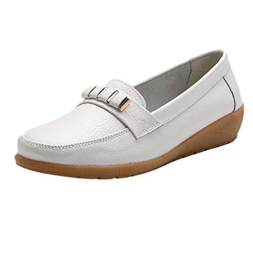 Luckhome Klettverschluß Sandalen Socken Wechselfußbett Damen Schuhe Damen vielseitige Flache Schuhe weicher Boden große Größe lässig einfarbig Schuhe(Weiß,EU:39) - Europäischen Designer-linie
