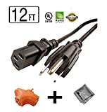 12 ft Long Power Cord for HP Officejet J5735 All-in-One + 3 Outlet Grounded Power Tap