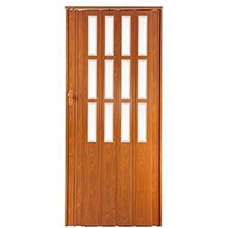 Falttür Schiebetür kirsche farben mit Schloß und Fenster Höhe 203 cm Einbaubreite bis 85 cm Doppelwandprofil abschließbar