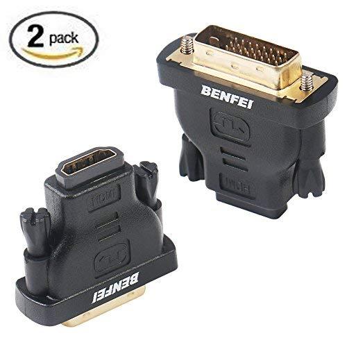 BENFEI DVI auf HDMI Adapter, Bidirektional DVI(DVI-D) zu HDMI Adapter 2 Stück