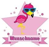 Samunshi® Flamingo Aufkleber mit Namen Autoaufkleber Namensaufkleber Kinder in 7 Größen (10x8,8cm Mehrfarbig)