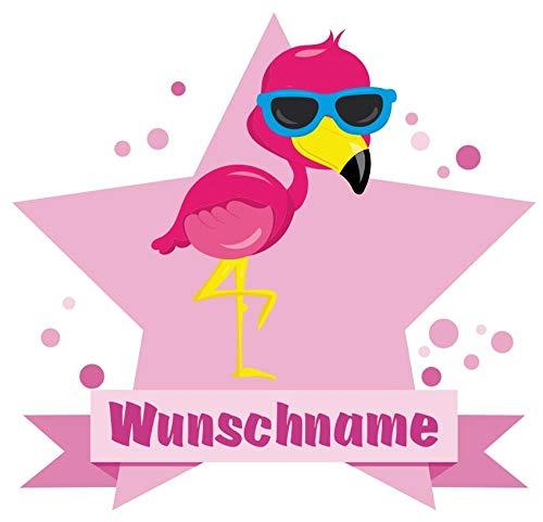 Samunshi® Flamingo Wandtattoo Türschild mit Name personalisierbar Kinderzimmer Türaufkleber Baby Wandaufkleber in 9 Größen (25x22cm Mehrfarbig) -